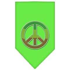 Mirage Pet Products Rasta Peace Rhinestone Bandana Lime Green Small