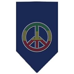 Mirage Pet Products Rasta Peace Rhinestone Bandana Navy Blue large