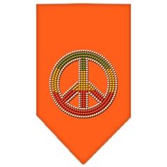 Mirage Pet Products Rasta Peace Rhinestone Bandana Orange Small