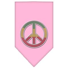 Mirage Pet Products Rasta Peace Rhinestone Bandana Light Pink Large
