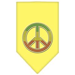 Mirage Pet Products Rasta Peace Rhinestone Bandana Yellow Large