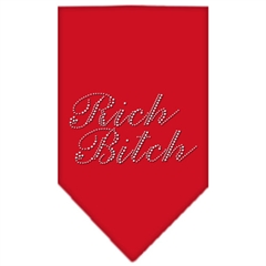 Mirage Pet Products Rich Bitch Rhinestone Bandana Red Large