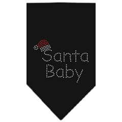 Mirage Pet Products Santa Baby Rhinestone Bandana Black Small