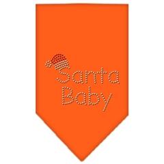Mirage Pet Products Santa Baby Rhinestone Bandana Orange Large