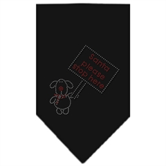 Mirage Pet Products Santa Please Stop here Rhinestone Bandana Black Small