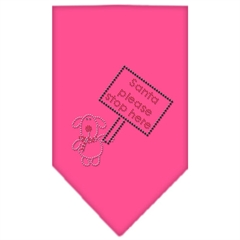 Mirage Pet Products Santa Please Stop here Rhinestone Bandana Bright Pink Large