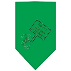 Mirage Pet Products Santa Please Stop here Rhinestone Bandana Emerald Green Small