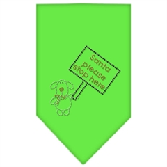 Mirage Pet Products Santa Please Stop here Rhinestone Bandana Lime Green Small