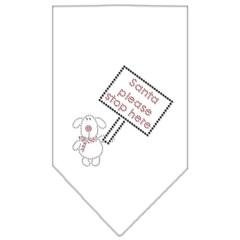 Mirage Pet Products Santa Please Stop here Rhinestone Bandana White Small
