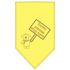 Mirage Pet Products Santa Please Stop here Rhinestone Bandana Yellow Small