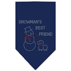 Mirage Pet Products Snowman's Best Friend Rhinestone Bandana Navy Blue large