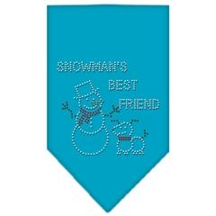 Mirage Pet Products Snowman's Best Friend Rhinestone Bandana Turquoise Large