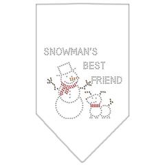 Mirage Pet Products Snowman's Best Friend Rhinestone Bandana White Large