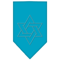 Mirage Pet Products Star Of David Rhinestone Bandana Turquoise Small