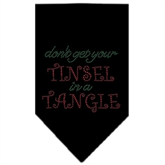 Mirage Pet Products Tinsel in a Tangle Rhinestone Bandana Black Large