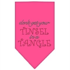 Mirage Pet Products Tinsel in a Tangle Rhinestone Bandana Bright Pink Small