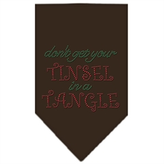Mirage Pet Products Tinsel in a Tangle Rhinestone Bandana Brown Large