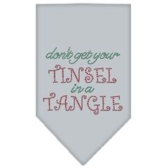 Mirage Pet Products Tinsel in a Tangle Rhinestone Bandana Grey Small