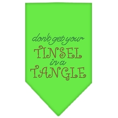 Mirage Pet Products Tinsel in a Tangle Rhinestone Bandana Lime Green Large