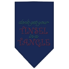 Mirage Pet Products Tinsel in a Tangle Rhinestone Bandana Navy Blue Small