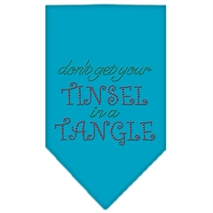Mirage Pet Products Tinsel in a Tangle Rhinestone Bandana Turquoise Small