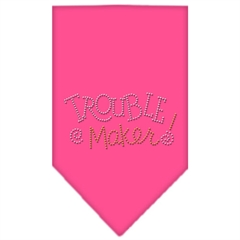 Mirage Pet Products Trouble Maker Rhinestone Bandana Bright Pink Large