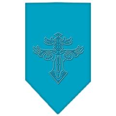 Mirage Pet Products Warriors Cross Rhinestone Bandana Turquoise Large