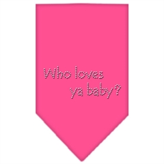 Mirage Pet Products Who Loves Ya Baby Rhinestone Bandana Bright Pink Large