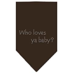 Mirage Pet Products Who Loves Ya Baby Rhinestone Bandana Cocoa Large