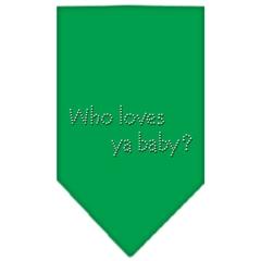 Mirage Pet Products Who Loves Ya Baby Rhinestone Bandana Emerald Green Large