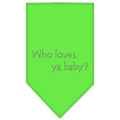 Mirage Pet Products Who Loves Ya Baby Rhinestone Bandana Lime Green Small
