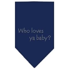 Mirage Pet Products Who Loves Ya Baby Rhinestone Bandana Navy Blue large