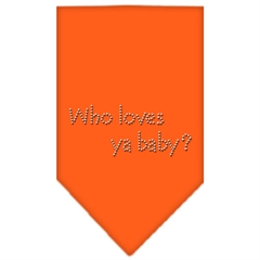 Mirage Pet Products Who Loves Ya Baby Rhinestone Bandana Orange Small