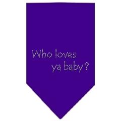 Mirage Pet Products Who Loves Ya Baby Rhinestone Bandana Purple Large