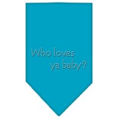 Mirage Pet Products Who Loves Ya Baby Rhinestone Bandana Turquoise Large