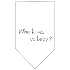 Mirage Pet Products Who Loves Ya Baby Rhinestone Bandana White Small
