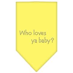 Mirage Pet Products Who Loves Ya Baby Rhinestone Bandana Yellow Small