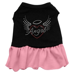Mirage Pet Products Angel Heart Rhinestone Dress Black with Pink Med (12)