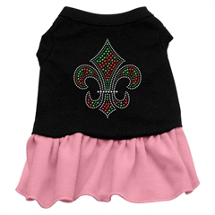 Mirage Pet Products Christmas Fleur De Lis Rhinestone Dress Black with Pink Sm (10)