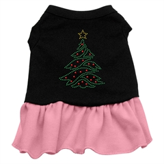 Mirage Pet Products Christmas Tree Rhinestone Dress Black with Pink Lg (14)