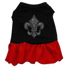 Mirage Pet Products Mardi Gras Fleur De Lis Rhinestone Dress Black with Red Med (12)