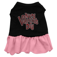 Mirage Pet Products Happy Valentines Day Rhinestone Dress Black with Pink Lg (14)