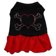 Mirage Pet Products Rhinestone Heart and crossbones Dress Black with Red XS (8)