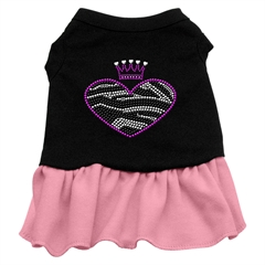 Mirage Pet Products Zebra Heart Rhinestone Dress Black with Pink Sm (10)