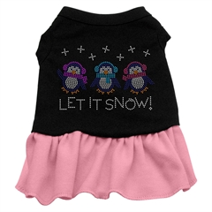 Mirage Pet Products Let it Snow Penguins Rhinestone Dress Black with Pink XXXL (20)
