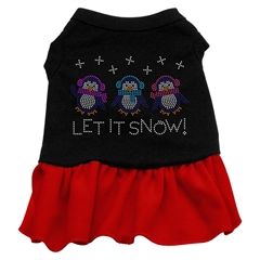 Mirage Pet Products Let it Snow Penguins Rhinestone Dress Black with Red XS (8)