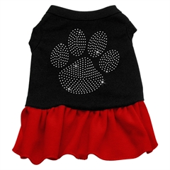 Mirage Pet Products Rhinestone Clear Paw Dress Black with Red XXXL (20)