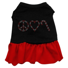 Mirage Pet Products Peace Love Candy Cane Rhinestone Dress Black with Red XL (16)
