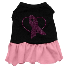 Mirage Pet Products Pink Ribbon Rhinestone Dress Black with Pink Med (12)