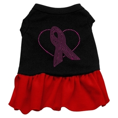 Mirage Pet Products Pink Ribbon Rhinestone Dress Black with Red XXL (18)